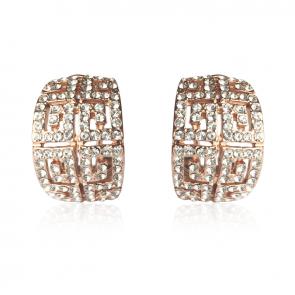 Луксозни обеци с бели австрийски кристали и розово златно покритие