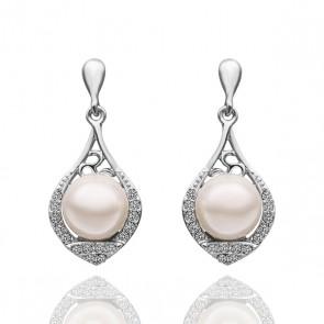"""Дамски обеци """"Перлено вълшебство"""" с бяла перла, бели австрийски кристали и бяло златно покритие"""