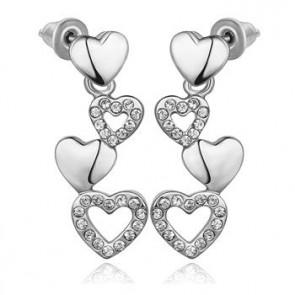 """Дамски обеци """"Две сърца в едно"""" с бяло златно покритие"""