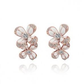 """Дамски обеци """"Бел Фльор"""" Голд с бели австрийски кристали и розово златно покритие"""