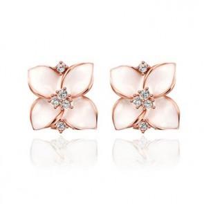 """Обеци за дами """"Роксана"""" с австрийски кристали и розово златно покритие"""