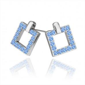 """Дамски обеци """"Анжела Блу"""" със сини австрийски кристали"""