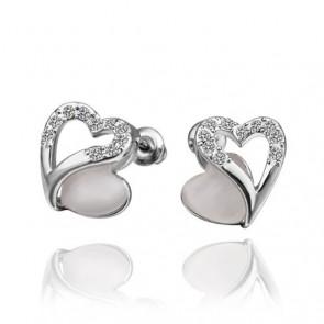 """Дамски обеци """"Божествена"""" във форма на сърце с бели австрийски кристали"""