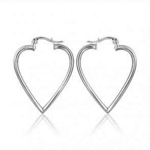 """Дамски обеци """"Анжелик"""" във форма на сърце със сребрист цвят"""