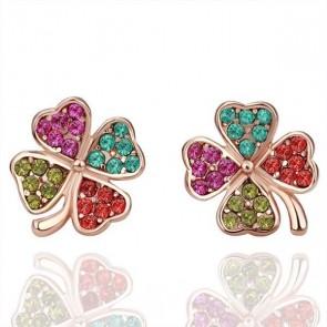 """Дамски обеци """"Пъстра Детелина"""" с многоцветни австрийски кристали и розово златно покритие"""