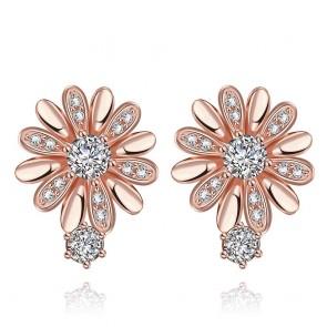 Дамски обеци с кристали циркон и розово златно покритие