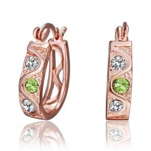"""Дамски обеци """"Естел"""" с разноцветни австрийски кристали и розово златно покритие"""