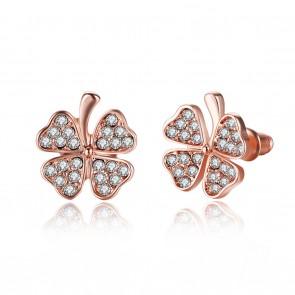 "Дамски обеци ""Детелина Голд"" с бели австрийски кристали и розово златно покритие"
