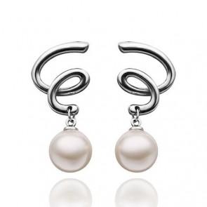 Дамски обеци с перли и 18К бяло златно покритие