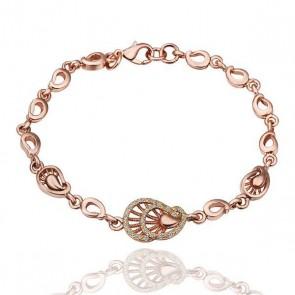 "Дамска гривна ""Фортуна"" с розово златно покритие и бели австрийски кристали"