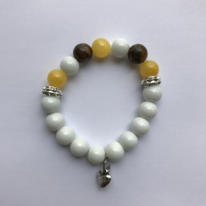 Дамска гривна с естествени камъни кехлибар, седеф и тигрово око