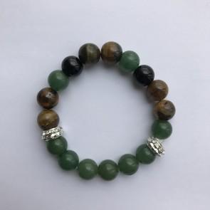 """Дамска гривна с eстествени камъни """"зелен авантюрин"""", """"оникс"""" и тигрово око"""""""