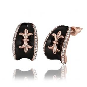 """Дамски обеци """"Адел Голд"""" с австрийски кристали и розово златно покритие"""
