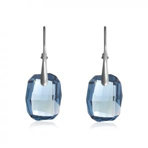 Висящи дамски обеци със сини кристали Сваровски