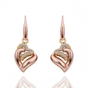 """Дамски обеци  """"Две сърца"""" с австрийски кристали и 18 карата розово златно покритие. Код: BV217."""