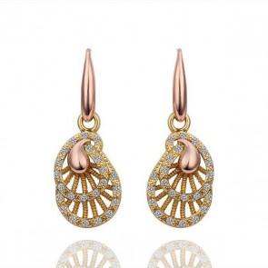 """Висящи дамски обеци """"Фортуна"""" с бели австрийски кристали и розово златно покритие"""
