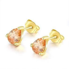 "Дамски обеци ""Лилиан"" с оранжеви кристали циркон и златно покритие"