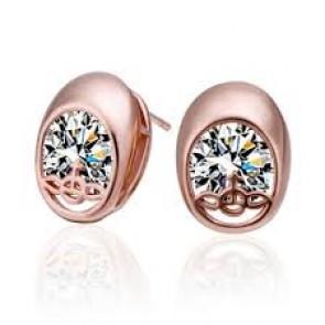 Дамски обеци с бели кристали циркон и розово златно покритие