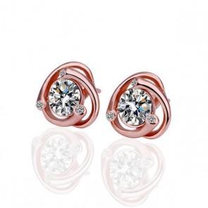 Дамски обеци с бели циркониеви кристали и розово златно покритие