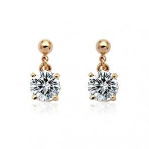 Обеци за дами с кристали циркон и златно покритие