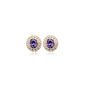 Дамски обеци с лилави кристали и розово златно покритие