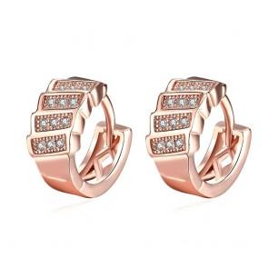 """Дамски обеци """"Сирена"""" с кристали циркон и розово златно покритие"""