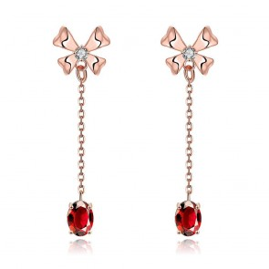 """Дамски обеци """"Стилна"""" Голд с бели кристали циркон и розово златно покритие"""