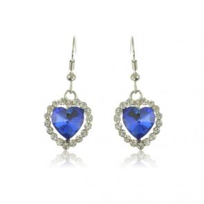 Дамски обеци със сини циркониеви кристали и бяло златно покритие