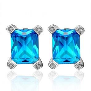Дамски обеци със сини кристали циркон