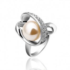 """Дамски пръстен """"Бяла Перла"""" с бели австрийски кристали и златно покритие"""