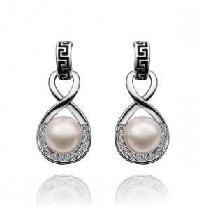 Дамски перлени обеци с австрийски кристали и златно покритие