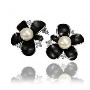 Дамски перлени обеци с австрийски кристали и бяло златно покритие