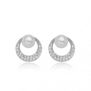 """Дамски обеци """"Усещане за жена"""" с бели перли, австрийски кристали и бяло златно покритие"""