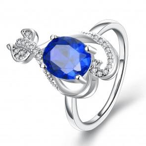 """Дамски пръстен """"Синя Страст"""" с кристал циркон и платинено покритие"""