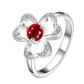Дамски пръстен  с червен кристал CZ Циркон и сребърно покритие