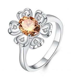 """Дамски пръстен """"Фея на Цветята"""" с оранжев циркон и сребърно покритие"""