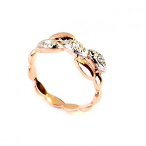 """Дамски пръстен """"Хепи"""" с бели австрийски камъни и розово златно покритие"""