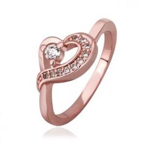 """Дамски пръстен """"Изабел"""" с бели кристали CZ циркон и 18 карата розово златно покритие. Код: PS123."""