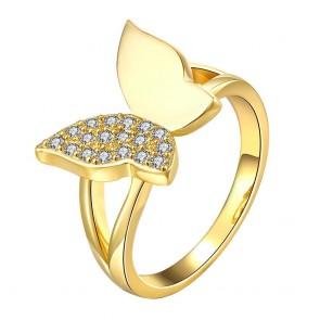 """Дамски пръстен """"Жълта Пеперуда"""" с бели кристали циркон и златно покритие"""