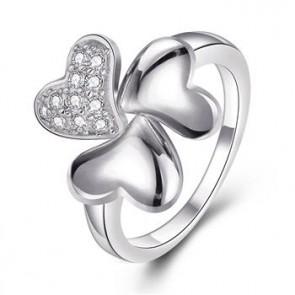 """Дамски пръстен """"Леда"""" с бели кристали циркон и платинено покритие"""