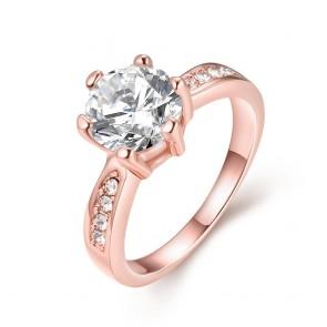 """Дамски пръстен """"Лъки Лейди"""" с бял циркон и розово златно покритие"""