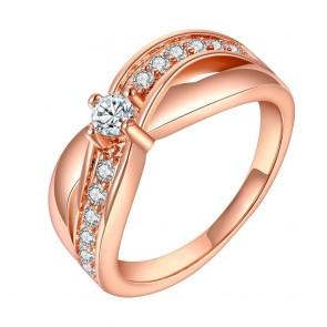 """Дамски пръстен """"Мания"""" с бял CZ Циркон и розово златно покритие"""