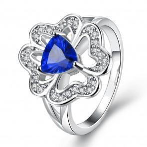 """Дамски пръстен """"Марго Блу"""" със син кристал CZ Циркон и платинено покритие"""