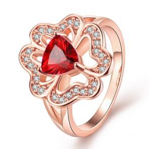 """Дамски пръстен """"Марго"""" с червен кристал CZ Циркон и 18 карата розово златно покритие. Код: PS112."""