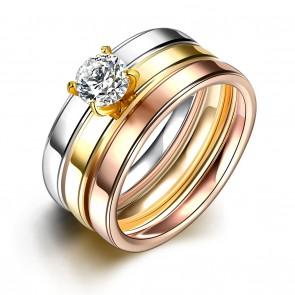Дамски пръстен от 3 части с бял кристал циркон и неръждаема стомана
