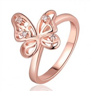 """Дамски пръстен """"Пеперуда Голд"""" с кристали CZ циркон и 18 карата розово златно покритие. Код: PS119."""