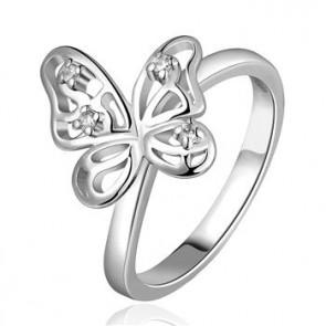 """Дамски пръстен """"Пеперуда"""" с кристали CZ циркон и 18 карата бяло златно покритие. Код: PS121."""