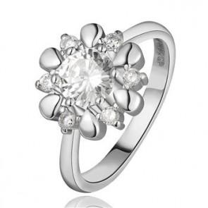 Дамски пръстен с австрийски кристали CZ Циркон и 18 карата бяло златно покритие. Код: PS129