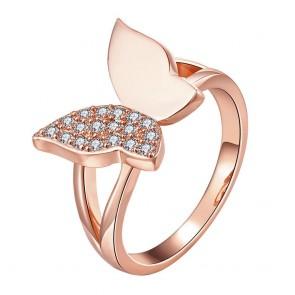 Дамски пръстен с бели кристали циркон и розово златно покритие