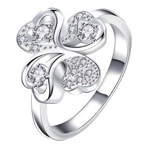 Дамски пръстен с бял CZ циркон и сребърно покритие